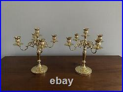 Beautiful Pair of BALDWIN Solid Brass 5 Candle Candelabras 11 tall