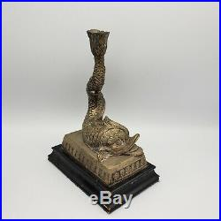 Beautiful Pair of Decorator Brass Mythical Dolphin Candlesticks on Wooden Base