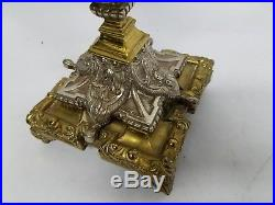 Beautiful Vintage Pair of 3 Candle Holder Heavy Brass Bronze Candelabras