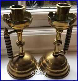 Benham & Froud Christopher Dresser Design Chamber Candle Holders Brass & Wood