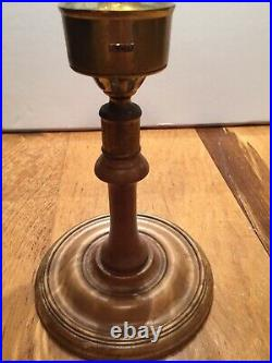 Brass And Wood Hurricane Candle Holder By Virginia Metalcrafters