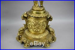 Brass Candelabra Ormolu Cherub Putti Angel Gold Porcelain Gilded Mantel 4 Light