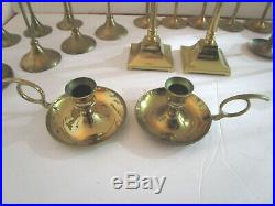 Brass Candle Stick Holders Wedding Party Candlesticks Lot of 24 Tapered Mixed