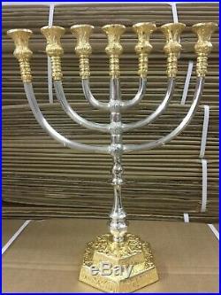 Brass Copper 14 Inch Massive Israel Temple Menorah Jerusalem 7 candle holder