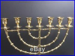 Brass Copper 22 XXL Vintage Menorah Candle Holder Israel Judaica From Jerusalem