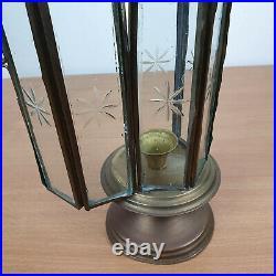 Brass Glass Lantern Door Hanging Candle Holder Engraved Glass