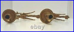 Brass Griffin Dragon Candlestick Holders 1920s Gothic Revival Made in France