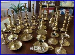 Brass Lot 37 Candlestick Vintage Holder Wedding Decor Candle Patina Tapered Set