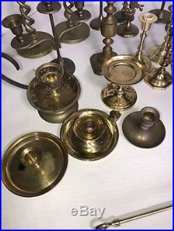 Brass Lot of 21 Candle holders Including Raj, Interpur Taiwan & Rosenthall Brass