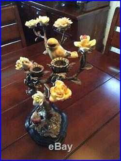Brass Tree With Delicate Porcelain Birds & Flowers Candelabra Candle Holder