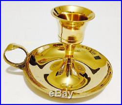 Brass Wee Willie Winkie Chamber Stick Candlestick Candle Holder Drip Dish