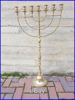 Brass copper 22 XXL vintage Menorah candle holder Israel Judaica from Jerusale