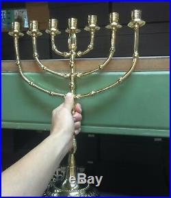 Brass copper Jerusalem Menorah XXL 16 candle holder authentic vintage Israel