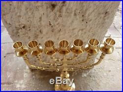 Brass copper Jerusalem candle holder authentic XXL 14 vintage Israel Menorah