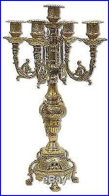 CANDLESTICK candle holder FRENCH BAROQUE BRASS POLISHED 5 FLAMES NEW