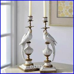 Cabdelabra Brass White Chinese Porcelain 1 arm candle holder