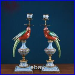 Cabdelabra Brass hand painted Red and Blue Chinese Porcelain 1 arm candle holder