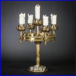 Candelabra Brass Candle Holder Gilt Gilded Gothic 5 Lights Arms 12