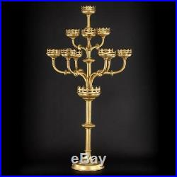 Candelabra Brass Gilded Candle Holder Gilt Church Nine Arms 9 Lights 35