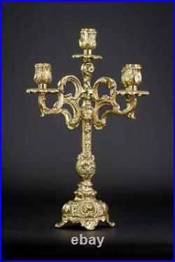 Candelabra Bronze Candle Holder Baroque Gilded Brass French 5 Lights 13.8