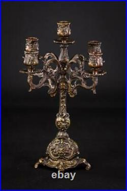 Candelabra Bronze Candle Holder Baroque Gilded Brass French 5 Lights 14.6