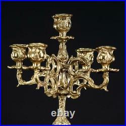 Candelabra Bronze Candle Holder Baroque Gilded French Vintage 5 Lights 16