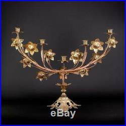 Candelabra Gilt Bronze Brass Candle Holder Gilded Antique 5 Tier Arms 24