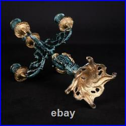 Candelabra Pair 2 Candle Holders Gilded and Patinated Bronze Brass 15.6