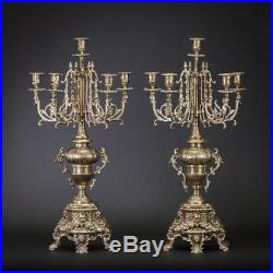 Candelabra Pair Two Bronze Candle Holders 2 Antique Brass 6 Lights 24