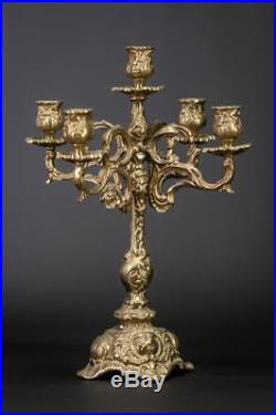 Candelabra Pair Two Candle Holders Baroque Gilt Brass 5 Lights Arms 14