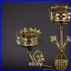 Candelabra Pair Two Candle Holders Brass Gothic Gilt Bronze 3 Arms 20