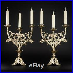 Candelabra Pair Two French Candle Holders Bronze Brass Three Arms 14