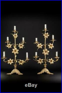 Candelabras Pair Two Brass Candle Holders 5 Lights Arms Antique Bronze 23