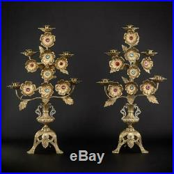 Candelabras Pair Two Bronze Candle Holders 5 Lights Arms Antique Brass 22