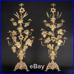 Candelabras Pair Two Bronze Candle Holders 6 Lights Arms Antique Brass 32