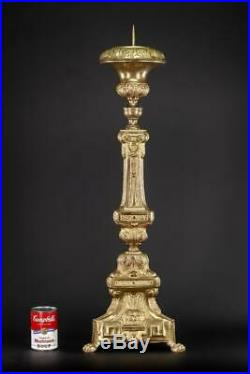 Candlestick Antique Pair 2 French Brass Candle Holder Church Mary 32