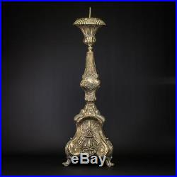 Candlestick Brass Antique French Candle Holder Baroque Church Rocaille 33