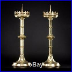 Candlestick Pair 2 French Brass Pricket Candle Holders Two Gothic 22