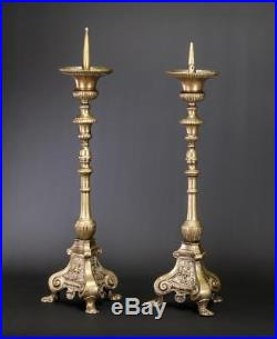 Candlestick Pair Two Candle Holders 2 Bronze Brass Church Antique 25