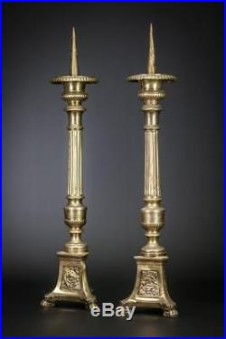 Candlestick Pair Two Candle Holders Antique Gilt Church Gilded Brass 19