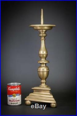 Candlestick Pricket Dutch Candle Holder Brass Antique Upswept Drip Pans 18