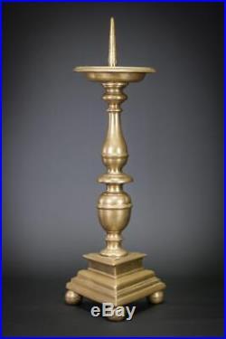 Candlestick Pricket Dutch Candle Holder Brass Upswept Drip Pans 18