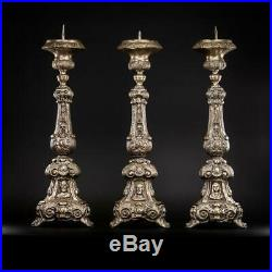 Candlestick Set Three Antique French Brass Candle Holder Church Mary 24