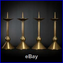 Candlesticks Four Set 4 Candle Holders Vintage Church Gilded Brass 17