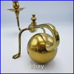 Cantilevered Modernist Brass Candlestick W. A. S. Benson