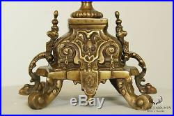 Castilian Imports Brass and Crystal Pair Candelabra Candle Holders