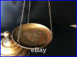 Chapman Brass Balance Scale with Candle Holder Vintage Italian Italy