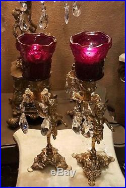 Cherubs Antique Vintage Candle Holders Brass #2 sets ruby red votives