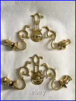 Colonial Williamsburg Brass Wall Sconces Pair Double Arm Candle Holders