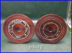 Colonial Williamsburg CW16-80 Mahogany Candle Holders with Glass Hurricane Globes